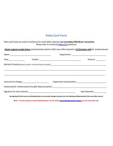 formal petty cash form template