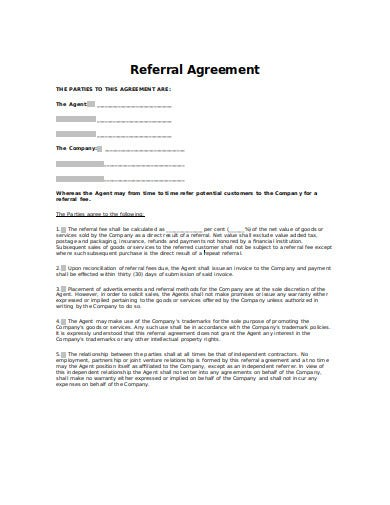 formal referral agreement in doc