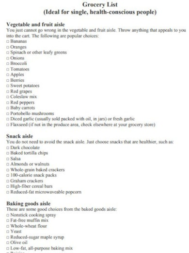 format grocery checklist template