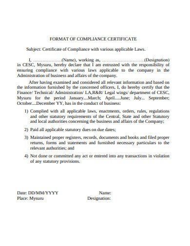 format of compliance certificate template