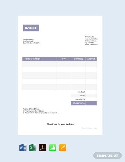 free basic invoice template