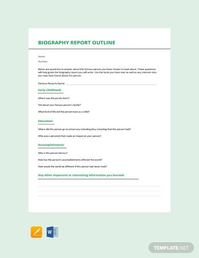 free biography report outline template