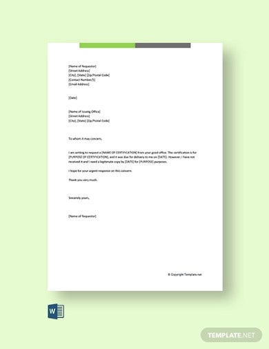 free certification request letter