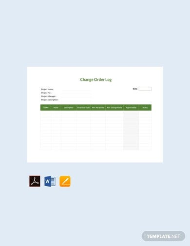 free change order log template1