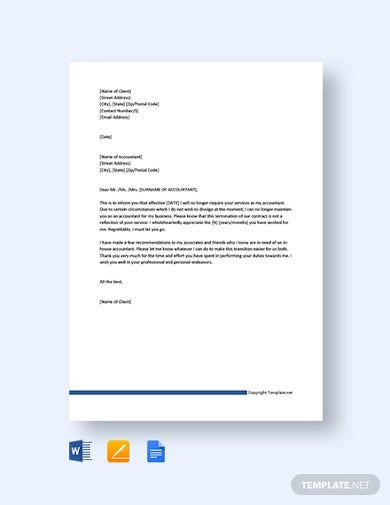 free client termination letter to accountant