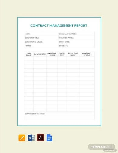 free contract management report template2