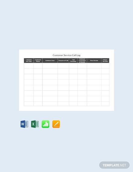 free customer service call log template