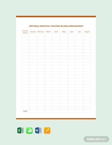 free editable monthly income blank spreadsheet template