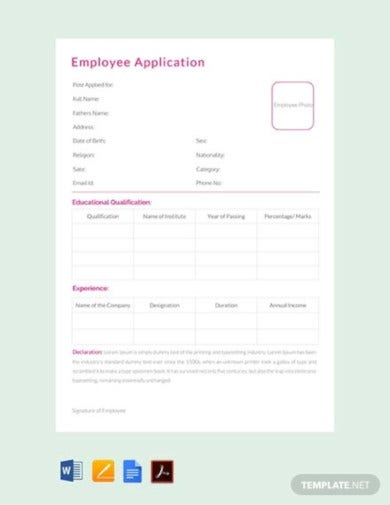 free employee application template
