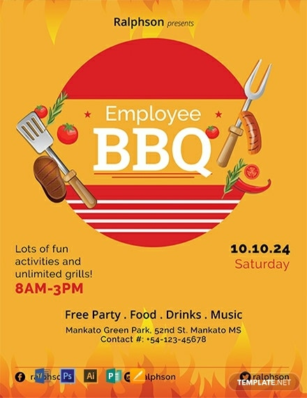 free employee bbq party flyer template 440x570 1