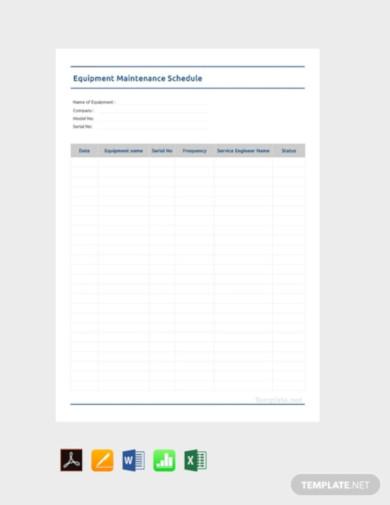 free equipment maintenance schedule template1