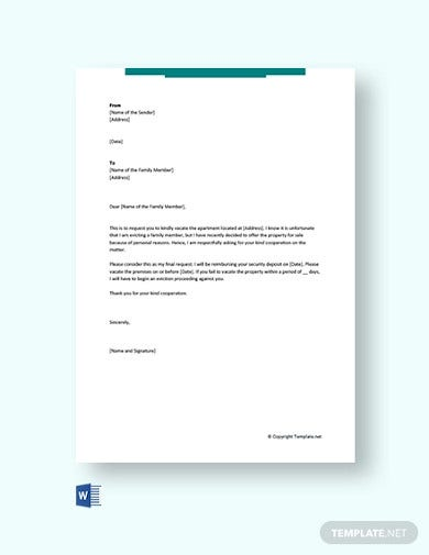 free eviction letter to family member