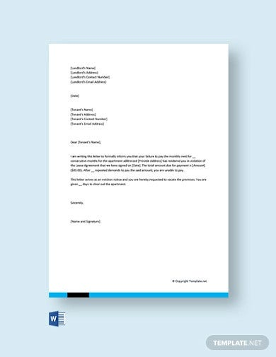 free eviction letter to tenant