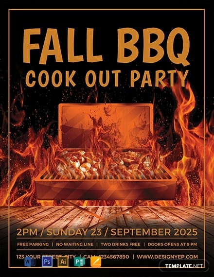 free fall bbq party flyer template 440x570 1