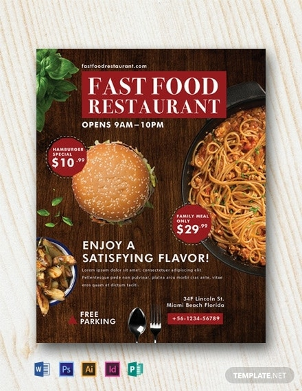 free fast food restaurant flyer template 440x570 1
