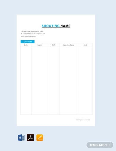 free film shooting schedule template