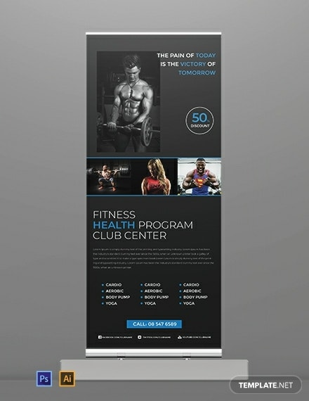 free fitness roll up banner template 440x570 1