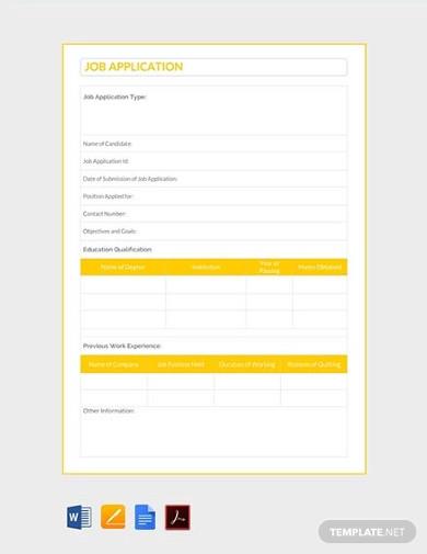free job application template2