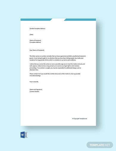 free landlord warning letter to tenant1
