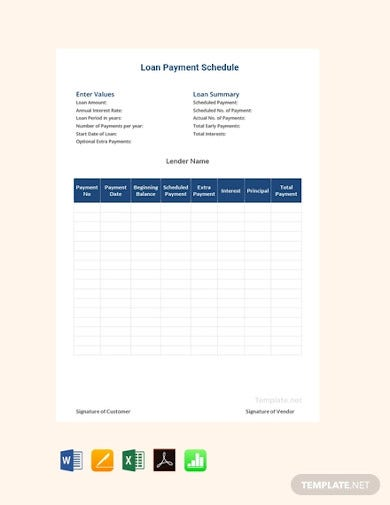 free loan payment schedule templates