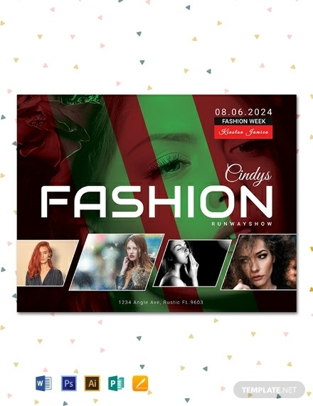 free modern fashion show flyer template 440x570 1
