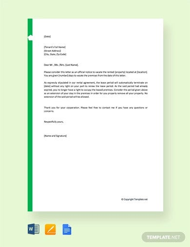 free notice to vacate letter