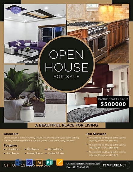 free open house sale flyer template 440x570 1