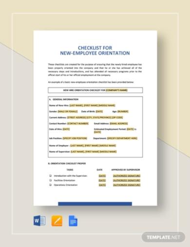 free orientation checklist template