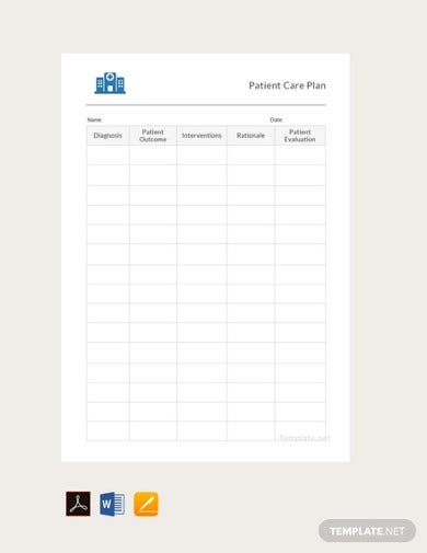 free patient care plan in word