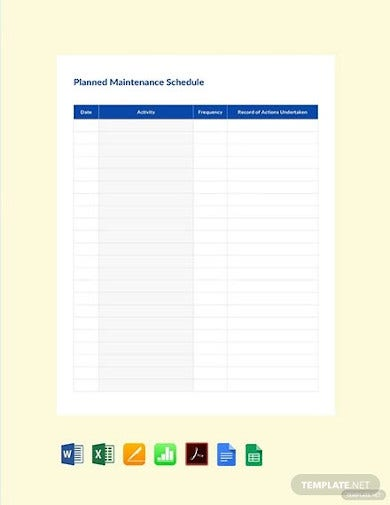 free planned maintenance schedule template1