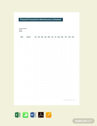 free planned preventive maintenance schedule template