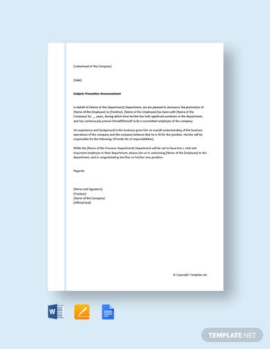 free promotion announcement letter template