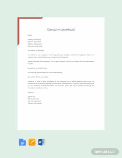 free promotion letter sample template