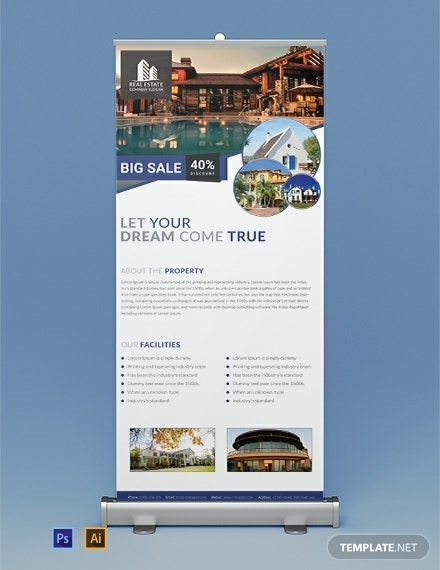 free real estate roll up banner template 440x570 1