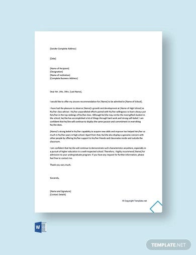 free reference letter for school admission