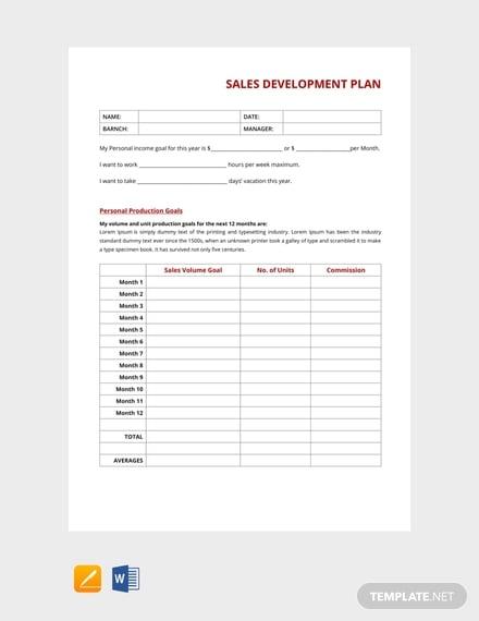 free sales development plan template