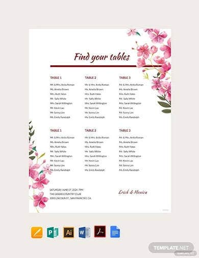 free table seating chart template1