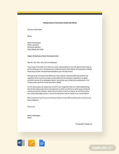 free termination letter during probation period