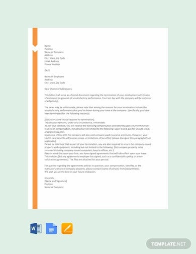 free termination letter template for poor performance