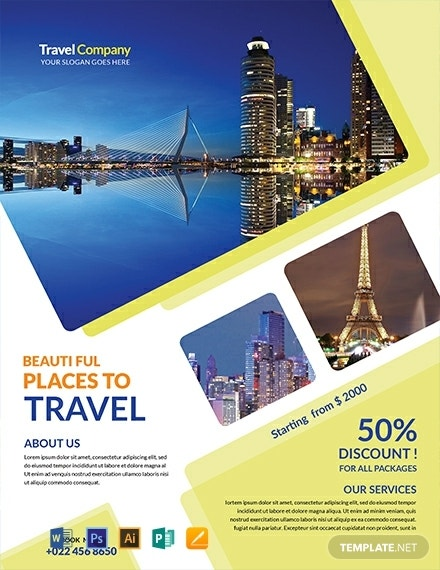 free travel agency flyer template 440x570 1