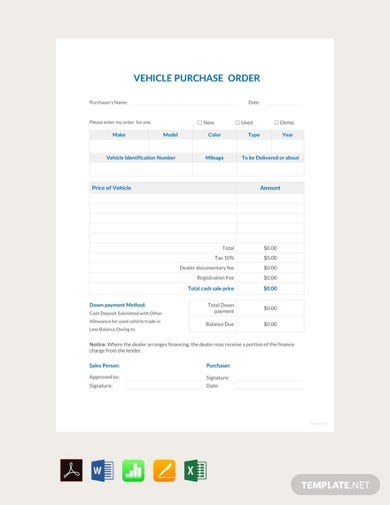 free vehicle purchase order template1