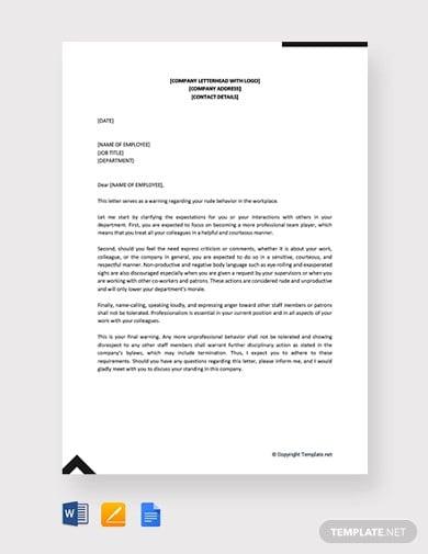 free warning letter for rude behavior1