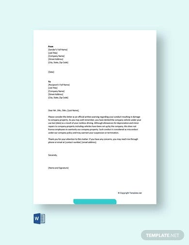 free warning letter for damaging company vehicle