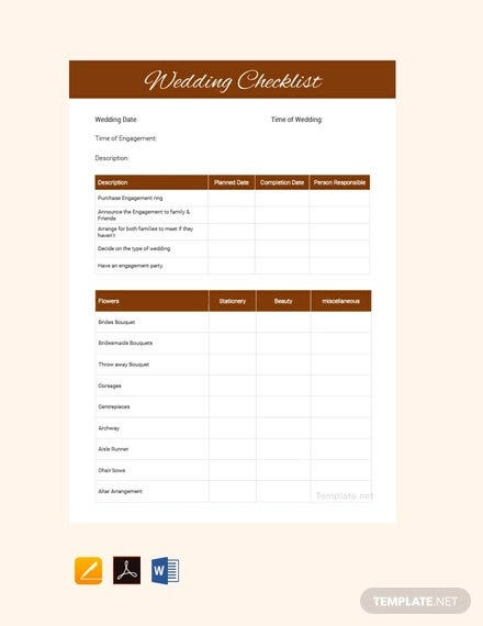 free wedding checklist template