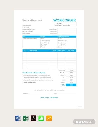 free work order template1