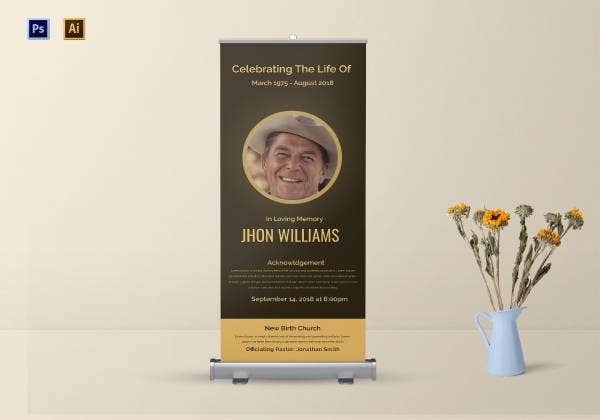 funeral announcement roll up banner 1
