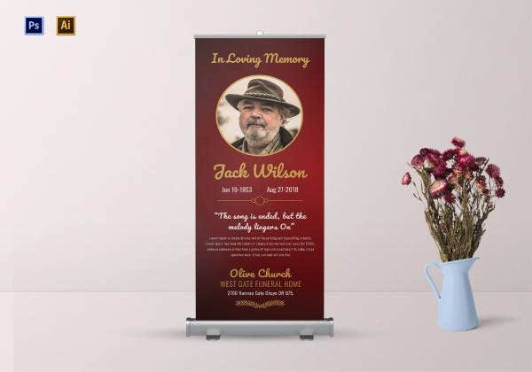 funeral invitation roll up banner 1
