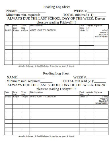 general reading log sheet