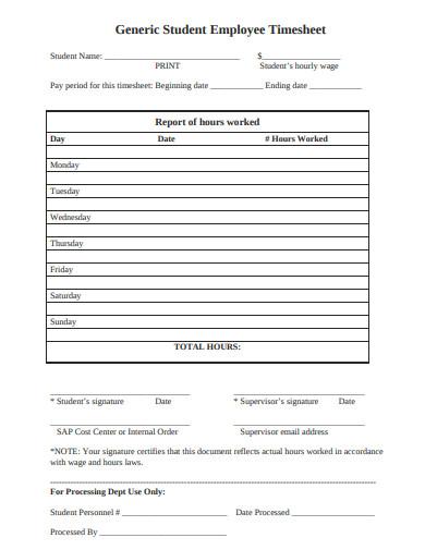 generic student employee timesheet