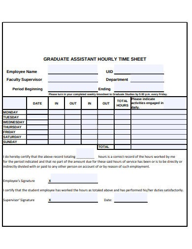 graduate assistant hourly sheet